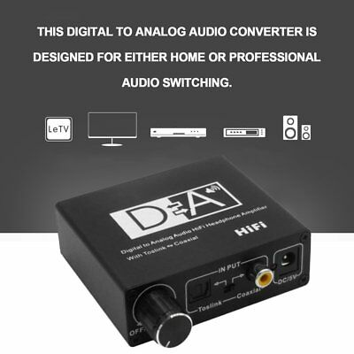 Digital to Analogue Audio Converter Adapter Coaxial Coax Optical Toslink RCA AZ