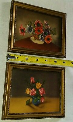 "2 carved gold wood framed glass 5""x6"" antique lithograph pictures"