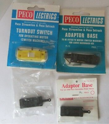 PECO Lectrics 3 x Adapter Bases and Turnout Switch                        [8454]