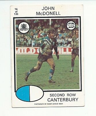 No 16 1975 Scanlens Rugby League John McDonell Canterbury Bulldogs