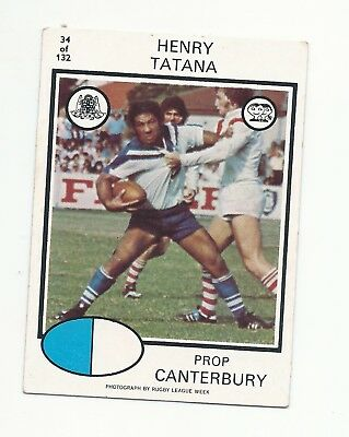 No 34 1975 Scanlens Rugby League Henry Tatana Canterbury Bulldogs