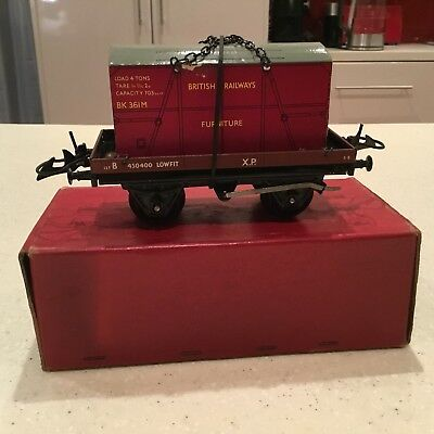 HORNBY O GAUGE No 5o Low Sided Wagon with container Boxed Excellent Condition.