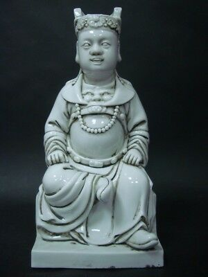 "Very Fine Old Chinese White Glaze Porcelain Buddha Statue Marked ""HeChaoZong"""