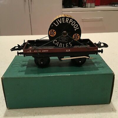 HORNBY O GAUGE No 5o Low Sided Wagon with Cable Drum Boxed Excellent Condition.