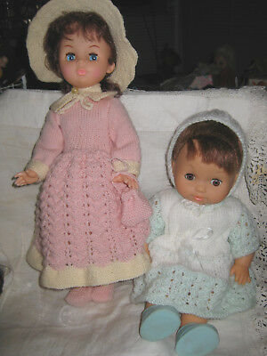 2 Dolls In Beautiful Hand Knitted Outfits- Young Lady And Toddler