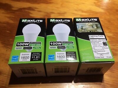3 Pack LED 100 Watt Equivalent A type Light Bulb - Dimmable 4000k!