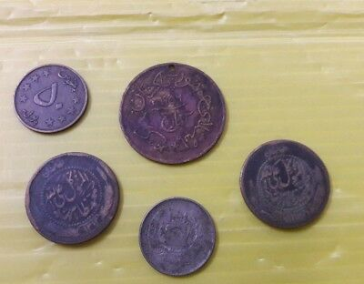 Lot Of 4 Afghanistan Old Coins 10,25, And 50 Pols Pakistan Medal Rare Lot 3