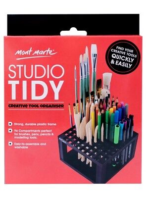 Mont Marte Studio Tidy Paint Brush Pencil Modelling Tool 96 Compartments Plastic