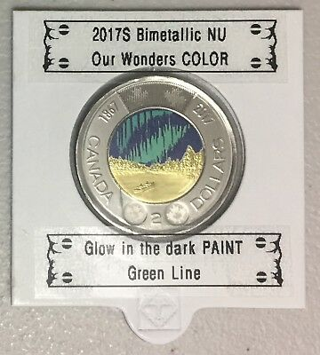 CANADA 2017 New Toonie 150th Glow in the dark COLOR  (BU From roll) ERROR RARE