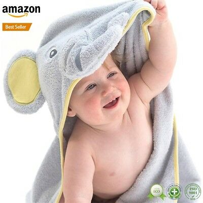 Bamboo Elephant Hooded Towel For Kid + Free Maple Wood Teether Ring