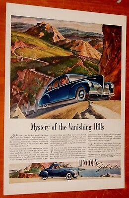 Fantastic 1941 Lincoln V12 Zephyr Coupe Ad + Air Step Womens Shoes On Back 40S