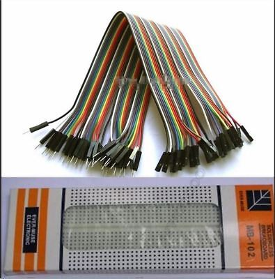 MB102 Breadboard With 40X Dupont Cable 2.54MM 1P-1P Male To Female For Arduin vc