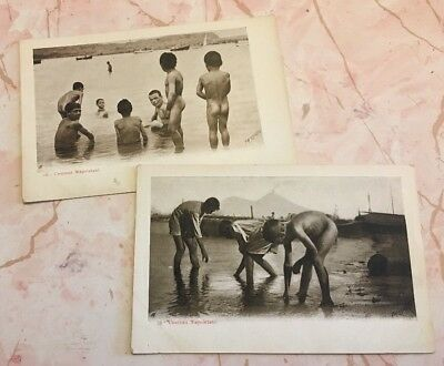 Pair Antique Early 1900s Unused Risque Real Photo Nude Italian Postcards Naples