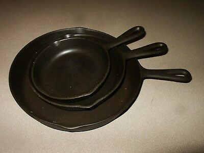Vintage lot of 3 BSR RED MOUNTAIN Series #3 #5 #8 Cast Iron Skillets Pans
