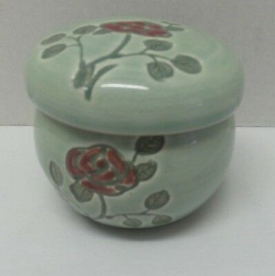 Vintage Korean Writing Green Celadon Pottery Tea Infuser Cup Lid Red Rose