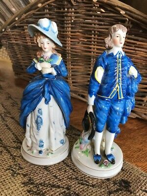 VTG Maruyama Victorian Colonial Man And Woman Porcelain Figurines Hand painted