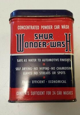 "Rare American (Chicago)  ""shur Wonder-Wash"" 6 Ounce Tin - Car Wash Soap - Empty"