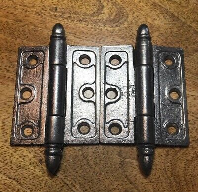 """Pair Of Cast Iron Loose Pin Butt Hinges ~1850 - 3"""" X 2 1/2"""" Antique Collectible"""