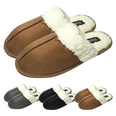 Ladies Mens Warm Faux Suede Soft Sherpa Fleece Fur Lined Slip on Mules Slippers