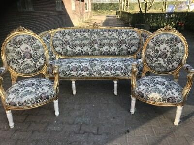 Antique French Louis Xvi Living Room Set - Sofa/settee + 2 Chairs