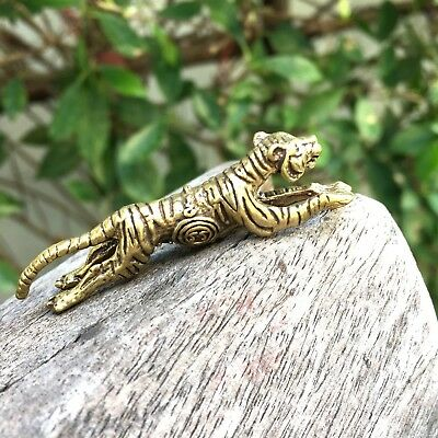 Thai mini brass tiger style lucky magic charm dollhouse 1 statue authority gift