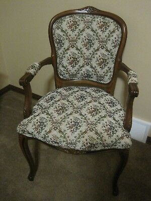 Victorian Walnut  Side Chair or Desk Chair Floral Sturdy  Mint Condition