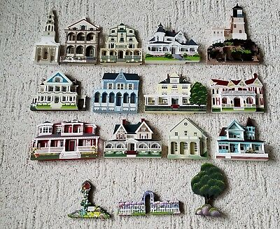 Lot of 13: Shelia's Collectibles Wooden homes 1990's