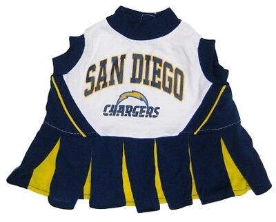 "NFL San Diego Chargers Cheerleader Pet Dress-XS Fits 6""- 8 1/2"" Neck; Pets First"