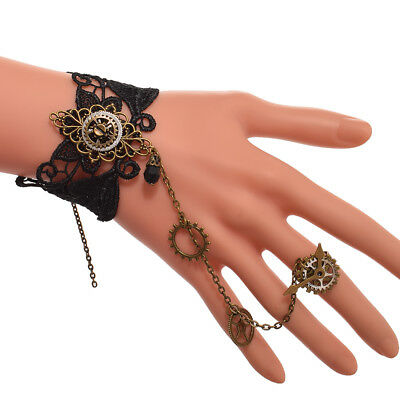Vintage Gothic Steampunk Gear Chain Bracelet Victorian Wristband With Ring