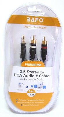 BAFO Premium 24K Gold Plated 3.5mm-RCA Stereo Audio Y-Splitter Cable 6' 6FT
