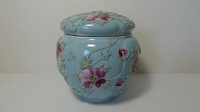 Antique Royal Moriye Nippon Porcelain Moriage Plum Blossom Humidor Jar Blue Mark