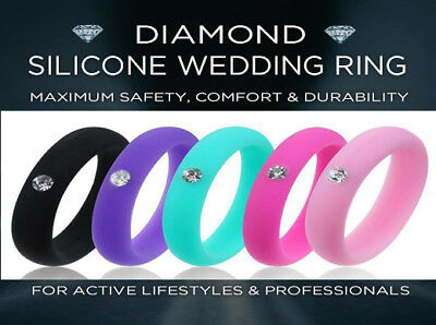 DIAMOND SILICONE WEDDING RING -  Men Women Band Fashion Jewelry Gift Rubber Band