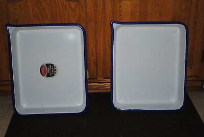 "(2) Vintage Cesco Enamel Film Developing Trays Darkroom  14 1/4"" x 17 3/4"""