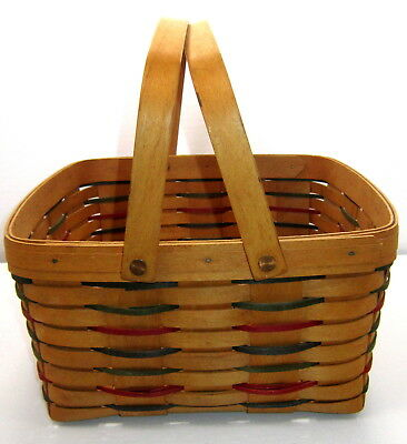Longaberger Red, Blue and Green Square Double Handle Basket