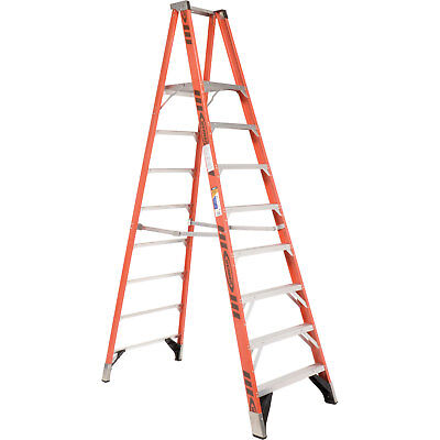 Werner P7408 8' Fiberglass Platform Step Ladder 375 lb. Cap, Lot of 1