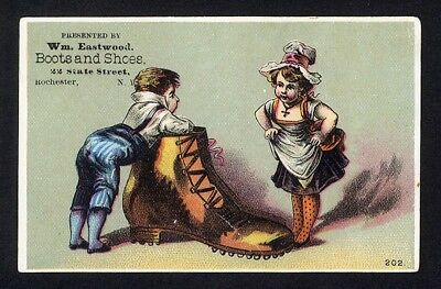 Rochester NY EASTWOOD BOOTS SHOES Victorian Trade Card BIG SHOE Little Children