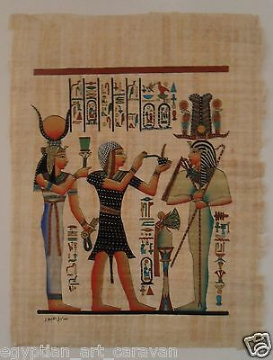 Papyrus Painting From Egyptian Art Caravan of Isis Ramses and Osiris