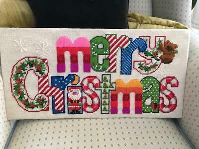 Vtg Completed Merry Christmas 3D Santa Needlepoint Finished Tapestry Pillow Size