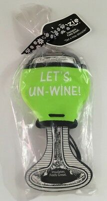 WOOZIE Koozie LET'S UN-WINE! Lime Green Insulated Wine Glass Insulator New