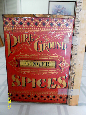 """Antique Large Red & Gold Spice Tin w/ affixed """"GINGER"""" Label-Very Good Condition"""