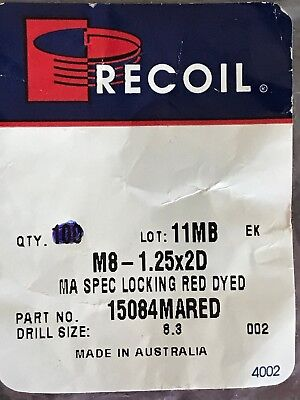 20 pcs Recoil M8x1.25x2D Metric Helicoil Thread Inserts Locking Red Dyed 15084