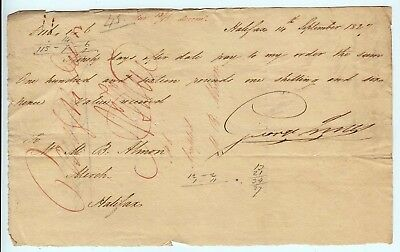 1827 Very Rare M.B. Almon Bank of Nova Scotia Promissory Note Halifax Canada