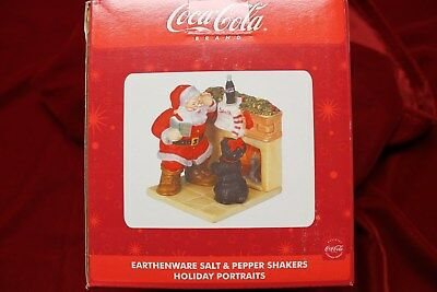 Coca Cola Christmas Earthenware Salt And Pepper Shakers, In Original Box , New