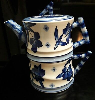 World Market 3 Piece - Teapot Lid And Cup Mug Nice Blue And White Bamboo Design