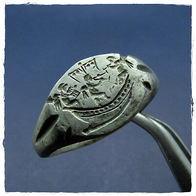 ** THREE CUPIDS on the GALLEY ** ancient SILVER  Roman ring !!!
