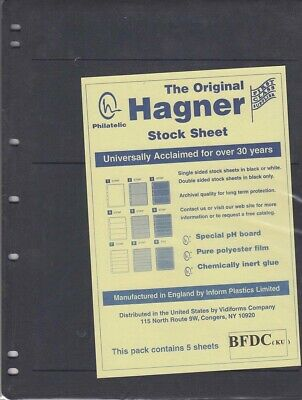 Stamp Stock Sheets One Side Black Pages 3 Different Rows Pack of 5 By Hagner New