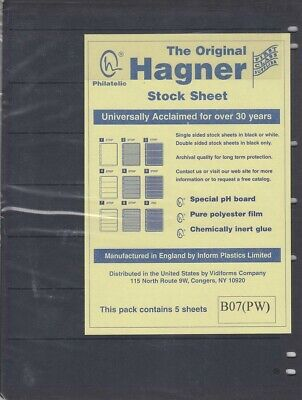 Stamp Album Stock Sheets Single Side Pages 7 Row Pack of 5 Black Polyester Film