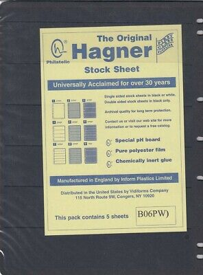 Stamp Album Stock Sheets Single Side Pages 6 Row Pack of 5 Black Polyester Film