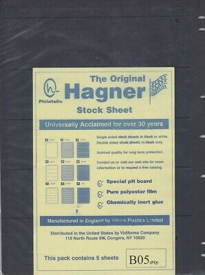 Stamp Album Stock Sheets Single Side Pages 5 Row Pack of 5 Black Polyester Film