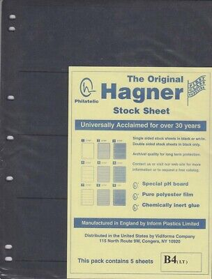 Stamp Album Stock Sheets Single Side 5 Pages 4 Row Black Polyester Film Hagner